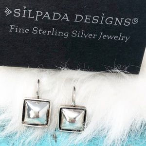 "Silpada W0144 Square Domed 925 Earrings 1/2"" HTF"
